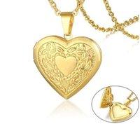 2020 Mulheres Coração Locket Colar de aço inoxidável Photo Frame Memória Romantic Love Pendant Femininas Promise presente