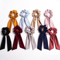 Banderoles ruban Anneau cheveux Mode Fille Bandeaux élastiques Chouchous Prêle Cravate bleu marine Vintage femmes Couvre-chef Accessoires cheveux 50pcs