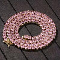 16 18 20 pollici 4mm ghiacciato fuori la collana di catene per le donne degli uomini rosa dal design di lusso bling argento collana di diamanti tennis regalo gioielli catena d'oro
