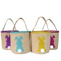 Sequins Easter Bunny Basket Çanta Çuval bezi Tavşan Kuyruk Kepçe Sevimli Bez Çantalar Jüt Yumurta Saklama Sepetleri Parti Festivali Şeker Çanta Hediyeler