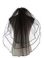 Vente chaude noir gothique de mariage Veils femmes 3 ruban bord du bout de doigt Niveaux de mariage voile de la mariée pas cher 11054BK Vente chaude