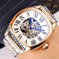 Nova unidade De WSNM0009 Automatic Mens Watch Two Tone Rose Gold Silver Skeleton Dial Aço Inoxidável Roman Bracelet Timezonewatch E109c3