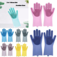 Silicone Glove Resuable Household Scrubber Dishwashing Glove...