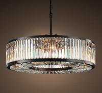 Американский ретро Luster K9 Кристалл E14 свет подвеска Круглый матовый черный круглый подвесной светильник для обеденного стола Урожая Приостановки лампы LLFA
