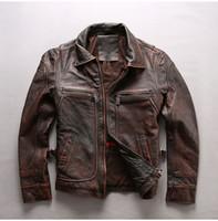 Erkek motosiklet kalın deri ceketler Vintage Pas kahverengi inek derisi katman hakiki deri yaka ile yaka