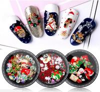 Clavo Decoración de Navidad Conjunto 3D Rhinestones Uña Arte Diseño regalo de Santa aleación tachonado perla manicura del taladro Mixta