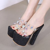 16cm luxury designer women shoes high heels big crystal gem ...