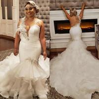Robes de mariée de la sirène de 2020 plus taille avec une épaule dentelle appliquée plume sud africaine dentelle robe de mariée de mariage
