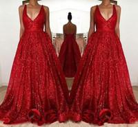 Sexy Red Sparkly Lantejoulas Vestidos de Baile 2019 modesto Longo Profundo Decote Em V Sem Mangas Backless A Linha Barato Evening Partido Vestidos