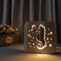 Lampe d'hippocampe en bois creusé-out 3D bois de nuits de nuit de bois chaud chaud blanc lampe de bureau USB Alimentation en tant qu'ami