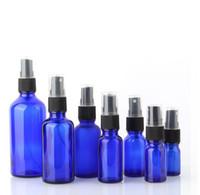 5 10 15 20 30 50 100ML di vetro dello spruzzo bottiglia, Spray per profumo -Refillable bottiglie vuote blu cobalto con il nero di plastica nebbia sottile Spruzzatori