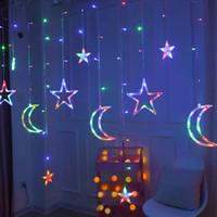 Moon Star lampada della lampada LED della stringa di Ins luci di Natale Decorazione Luci natalizie cortina lampada Wedding lanterna luce al neon 220v fata