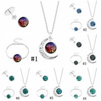 Baum des Lebens Mond Halskette Armband Ohrstecker Für Frauen Glas Cabochon Pflanze Anhänger Charm Herren Modeschmuck Set in Masse