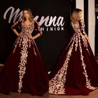 Eleganti abiti da sera in pizzo arabo 1/2 maniche lunghe con scollo a V Velvet Borgogna Vestidos Formale Party Prom Gowns Robes de Soirée