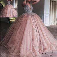 Шампанское тюль бальное платье платье Quinceanera 2020 Элегантный тяжелый кристалл из бисера глубокий V-образным вырезом сладкие 16 платья выпускного вечера платья
