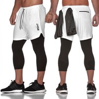Mens Running Tights Pants 2 In 1 Sports Shorts Men Soccer Wo...