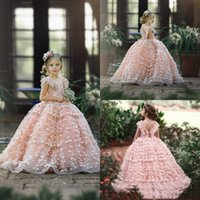 Cute Pink Flower Girl Dresses 2019 Cap Sleeves 3D Floral Appliques Little Girls Pageant Gowns Bambini Formale Puffy Prom Dress