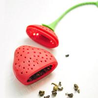 Frutta Fragola Forma Silicone Infusore Filtro Filtro Erbe aromatiche Foglia Verde Rosso Bustina di tè LX7178