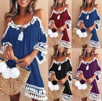 Halter Tassel Dress 4 Colors Women Sleeveless Necklace Off S...