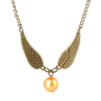 1 Geometric round Gold Snitch Harry Time Turner Potter Collana Feather Angel wings Collane Vintage Men movie Pendant Necklace jewelry