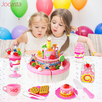 44- 103Pcs DIY Pretend Play Fruit Cutting Birthday Cake Kitch...