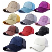 سهل الصلبة ذيل قبعة بيسبول فوضوي الكعك قبعة سائق الشاحنة المهر قبعات بريق الترتر أبي هات شبكة الصيف في الهواء الطلق SNAPBACKS LJJA3681-13