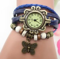 Butterfly Pendant bracelet watch Women National personality vintage Dial Colorful Beads Rope Weave leather Strap Alloy tag wristwatch