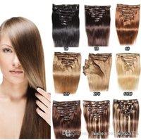 "Human brasileira Cabelos 16-24"" Clip extensões de cabelo em humano # 1 1B # 2 # 4 # 6 # 27 # 613 # 100g / set Extensões de cabelo humano"