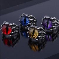 Men Women Punk Vintage Evil Eye Stainless Steel Ring Retro Hip Hop Biker Adjustable Rings Jewelry Gift