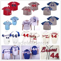 Atlanta Vintage 44 Hank Aaron H.Aaron 3 Dale Murphy 10 Chipper Jones 1957 1963 1973 1974 1982 de Baseball Jerseys