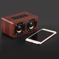 Haut-parleur Bluetooth sans fil en bois portable Hifi Shock Bass Altavoz TF Caixa de som Barre de son pour iPhone Sumsung Xiaomi Hot