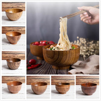 Natürliche Holz Schüssel Salat Reis Obstschale Nahrungsmittelbehälter Küchenzubehör für Kinder Kinder Snack Bowl Hauptdekoration hölzerne Schüsseln
