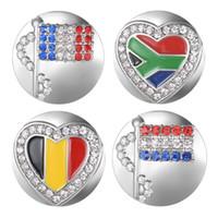 10PCS / LOT bandiera nazionale di Ginger Snap incanta il pulsante con rame di base metallica Fit 18 millimetri Snap gioielli Vn-2016 * 10