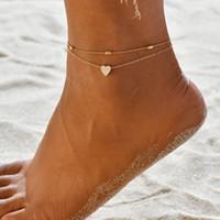 Plaqué or européen et américain Double Anklet Love Beach Bijoux Bracelets de cheville Femme Rétro coeur de pêche Pied ornements en gros