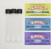 Boş Cam Tüp Özel Etiket Çıkartma Videodan önce gösterilen reklam Cam Şişe Kuru Bitkisel Tütün Paketleri Packaging Moonrock Dankwoods Öncesi rulo Ortak Şişe