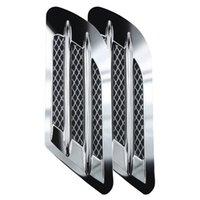 2pcs DIY 자동차 3D 스티커 상어 아가미 사이드 공기 통풍구 펜더 커버 홀 흡입 덕트 흐름 그릴 장식