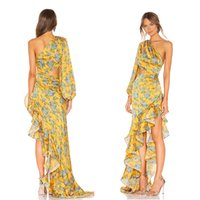 2019 Sexy Yellow Floral Print Women Sumnmer Dress Newest One Shoulder Casual Cocktail Dress Vintage Party Cocktail Gown WY2376