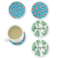 Silicone Coaster Leaves Blue Ocean Prints Round Soft Coaster...