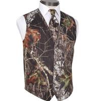 2020 Nova Pescoço V Camo homens casamento coletes Roupa exterior noivo Vest Realtree mola camuflagem Slim Fit Homens coletes (Vest + laço)