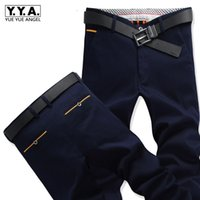Деловой человек Летние Straight костюм брюки повседневные брюки-карго Мужской Khaki Navy Длинные брюки плюс размер 40 Делопроизводство Хлопок
