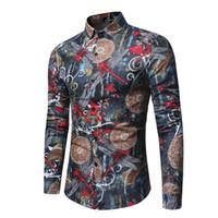 Erkekler Vintage Çiçek Baskılı Gömlek Erkek Lüks Uzun Kollu Tee Slim Fit Casual Bluz Gömlek Giyim Kıyafet Tops
