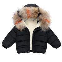 패션 아기 소년 자켓 모피 칼라 가을 겨울 아이들 따뜻한 두꺼운 파카 재킷 어린이 겉옷 소녀 코트 소년 소녀 옷
