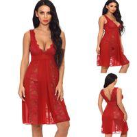 SEXY Frauen-reizvolle Wäsche-Kleid-Spitze mit V-Ausschnitt durchschauen Nachtwäsche Unterwäsche Nachtwäsche plus Größen-Kleid