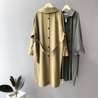 Trendy Original Design Zurück Signle Button Split Frauen Trenchcoat Mit Gürtel New High Fashion Classic Oberbekleidung Trenchcoat