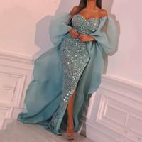 Saudi-arabische Pailletten Meerjungfrau-Abendkleider Schatz Side Side Split Sexy Prom Dress Ärmeln Sonderanfertigte Cocktail Party Kleider Vestidos