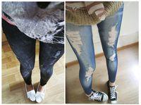 Dropshipping femminile del foro della costola di punk rock punk dei pantaloni delle ghette dei pantaloni elastici esili magri delle nuove donne