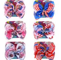 8 pouces Bows cheveux Barrettes drapeaux européens américains Barrettes enfants Boutique Hairclip bébé Accessoires de cheveux pour Independence Day KKA7817