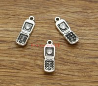 Telefono cellulare Texting Telefono Charms 100pcs / lot Antique Silver Tone 27x9mm 1924