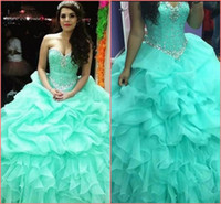 2019 New fashion Ball Gown Cheap Quinceanera Abiti Organza Con Perline Paillettes arruffato Dolce 16 Vestito Per 15 Anni Abito Debuttante