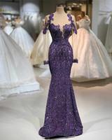 2020 фиолетовые вечерние платья русалки роскошные с длинными рукавами кружева примидно-аппараты выпускного платья с длинными рукавами Винтаж плюс размер арабский формальный платье